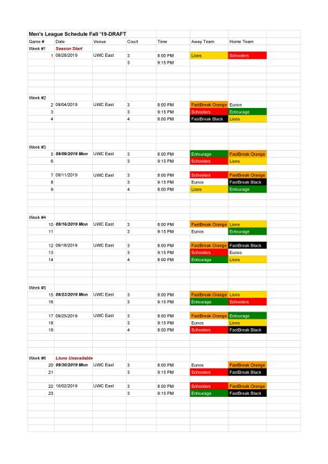 Men s League Schedule Fall 19-DRAFT-20190830-page-001